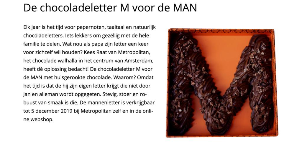De chocoladeletter M voor de MAN Society World 17:11:19