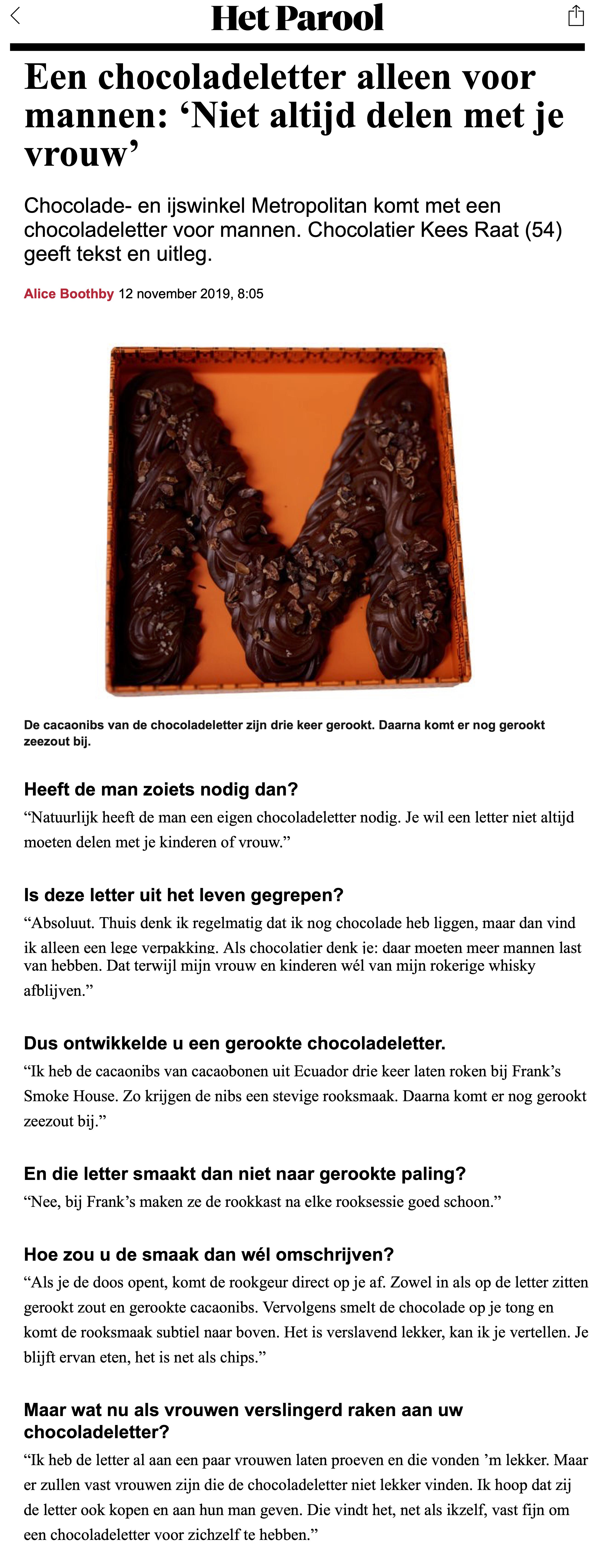 Een chocoladeletter alleen voor mannen- 'Niet altijd delen met je vrouw', het parool